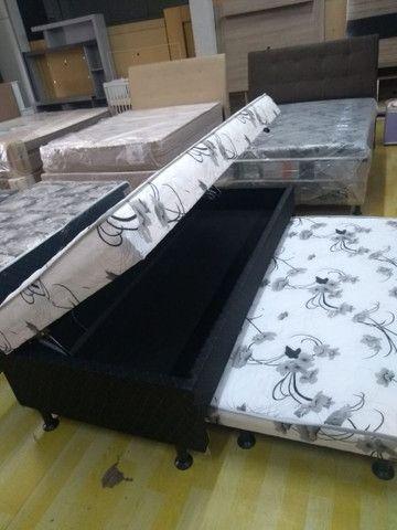 Cama box Solteiro espuma com auxiliar e baú- Novo - Foto 3