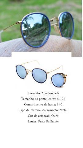Óculos rayban round dobrável espelhado azul - Bijouterias, relógios ... 69a58c9a6e