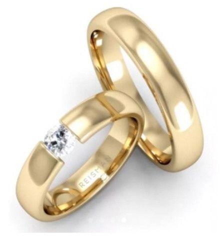 Alianças Reisman De Ouro Maciço 18k Diamante 20 Pto 5mm - Foto 3