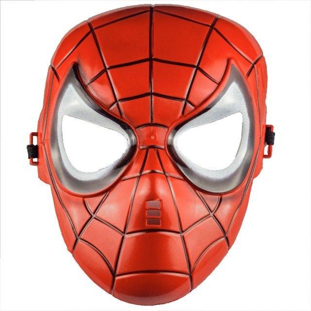 Máscara do Homem Aranha Plástico Super Herói Com Tira Ajustável