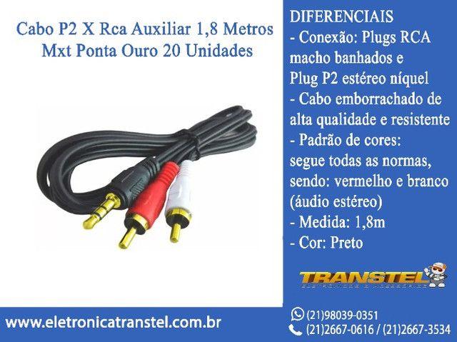 Cabo P2 X Rca Auxiliar 1,8 Metros Mxt Ponta Ouro 20 Unidades