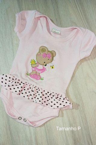 Vestido body bebê rosa Tam. P em algodão