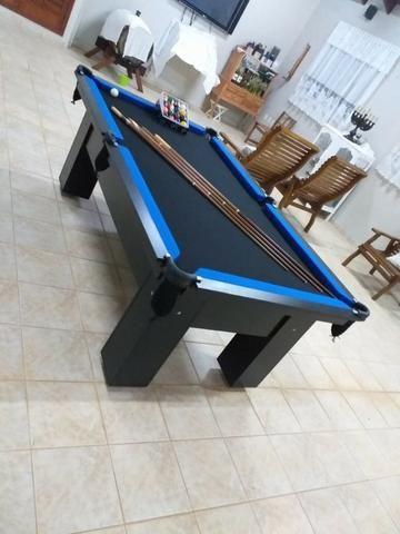 Mesa Charme 2,20 x 1,20 Cor Preta Tecido Preto e Borda Azul Mod. CECM5116 - Foto 3