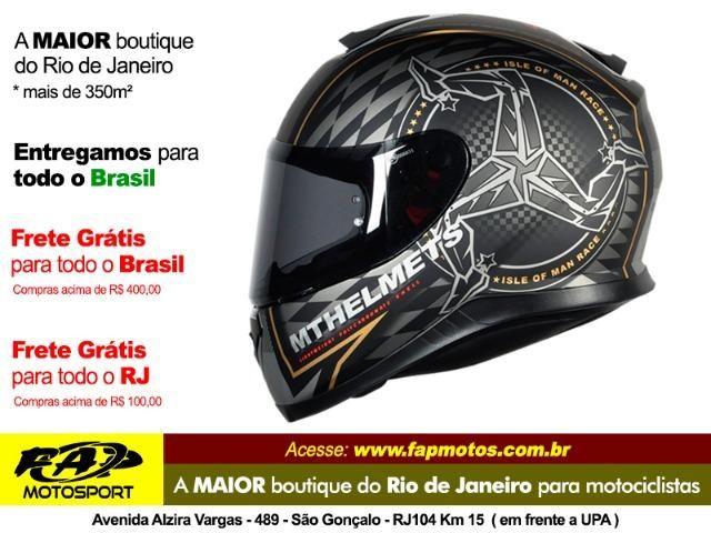 154b4054b Capacete Mt Thunder 3 Isle Of Man Matt Black-gold - Frete Grátis Brasil