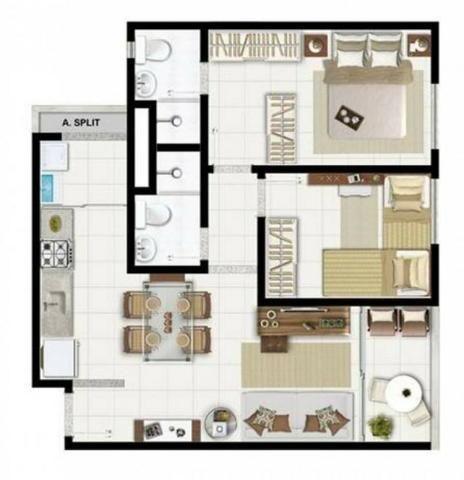 Apartamento Bosque da Aldeia 2 quartos 56m² Reg. Lauro de Freitas / Estrada do Coco - Foto 11