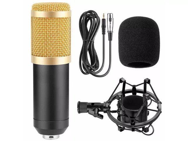Microfone Condensador Profissional Conexão XLR Dourado BM 800 - Loja Natan Abreu - Foto 3