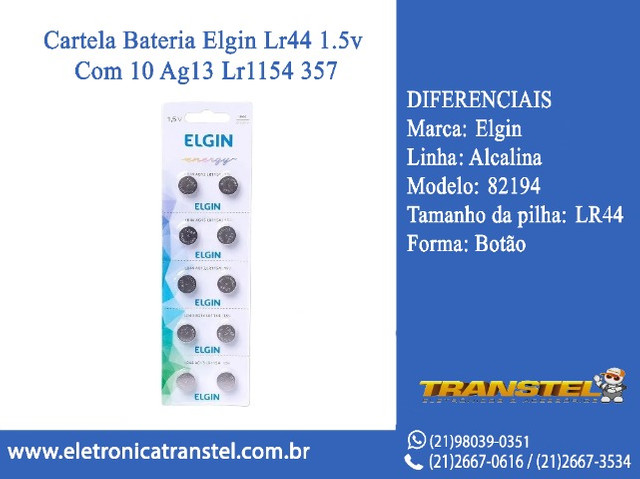 Cartela Bateria Elgin Lr44 1.5v Com 10 Ag13 Lr1154 357