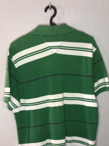 Camisa polo Tommy Hilfiger verde e branca - Foto 3