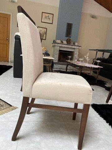 ABAIXOU! Mesa de jantar de vidro c/ 6 cadeiras estofadas