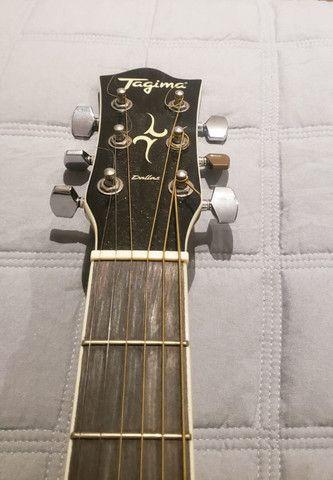Violão Elétrico Tagima Dallas Preto Aço, usado/ Case: softcase violão - Foto 3
