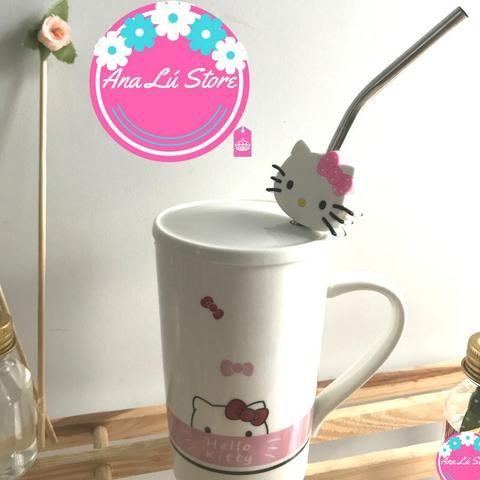 Caneca com tampa - Hello Kitty - Acompanha canudo