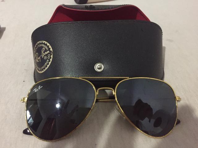 c41522042f8ec Óculos ray ban aviador preto com armação dourada - Bijouterias ...