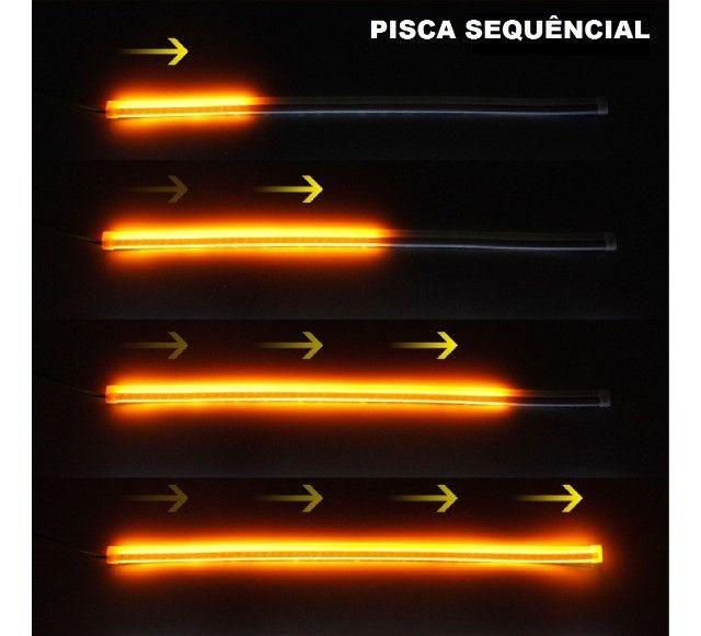 Barra De Led Flexivel Farol Drl Seta Sequencial Externa - Foto 6