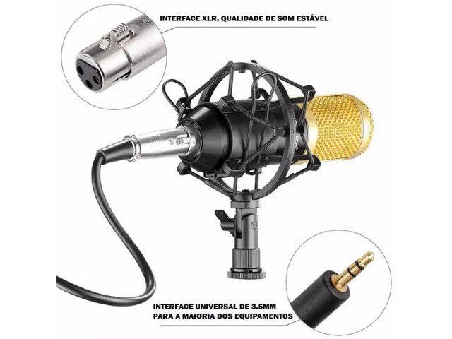 Microfone Condensador Profissional Conexão XLR Dourado BM 800 - Loja Natan Abreu - Foto 4