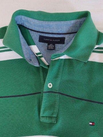 Camisa polo Tommy Hilfiger verde e branca - Foto 4