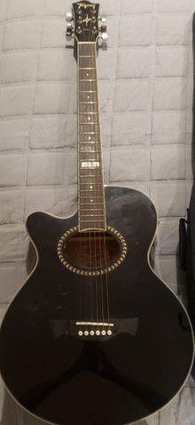 Violão Elétrico Tagima Dallas Preto Aço, usado/ Case: softcase violão - Foto 2