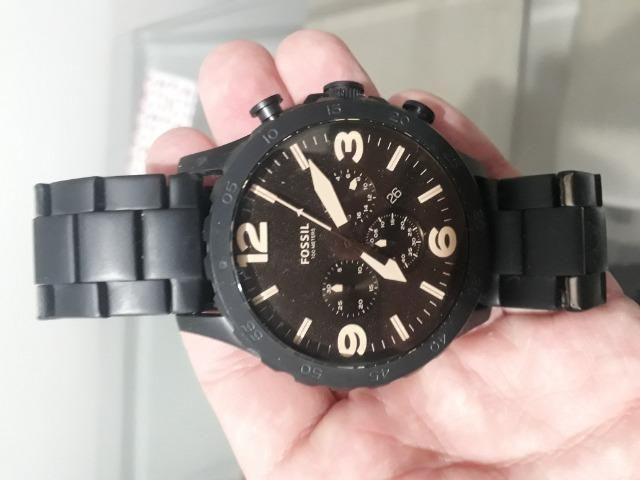 5b390d49e580e2 Relógio Fossil Masculino Nate Jr1356 Preto Marrom Original ...