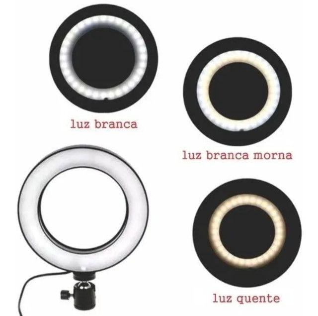 ILUMINADOR DE LED RING LIGHT 6 POLEGADAS COM TRIPÉ 12 CM - Foto 4