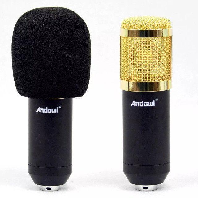 Microfone Condensador Profissional Conexão XLR Dourado BM 800 - Loja Natan Abreu - Foto 5