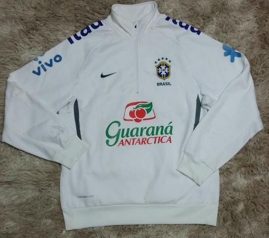 Blusa Moletom Nike Seleção Brasileira Branca de treino original ... b511fdd673f54