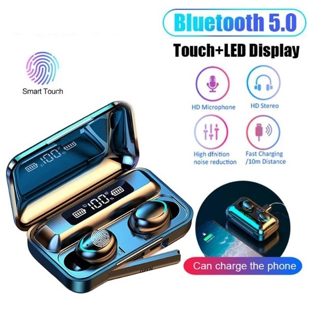 Fone de Ouvido F9-5 Tws Bluetooth 5.0 Com Microfone