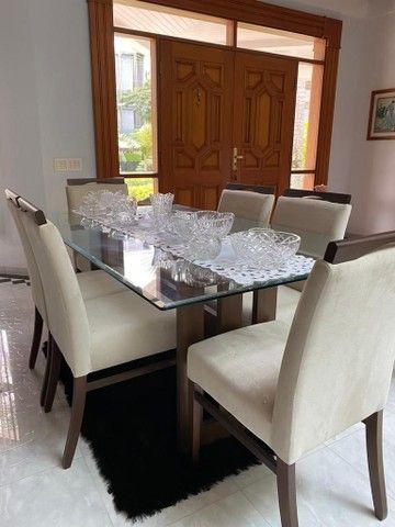 ABAIXOU! Mesa de jantar de vidro c/ 6 cadeiras estofadas - Foto 5
