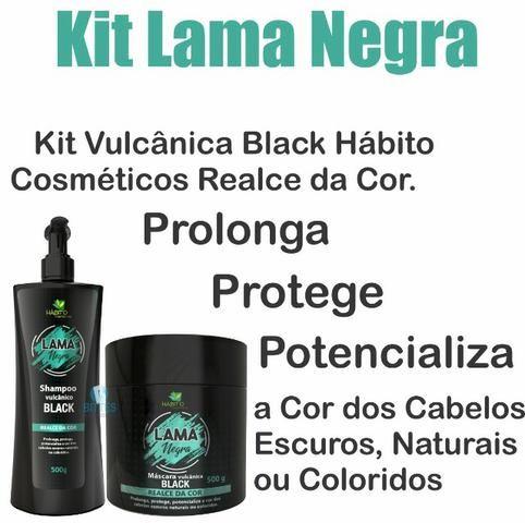 Kit Lama Negra Cabelo Preto Hábito Cosméticos Máscara Vulcânica Realce da Cor Prolonga - Foto 2