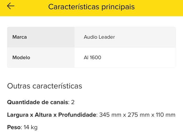 Potência Amplificador In Box Áudio Leader Al Sub 1600 1600w - Foto 2