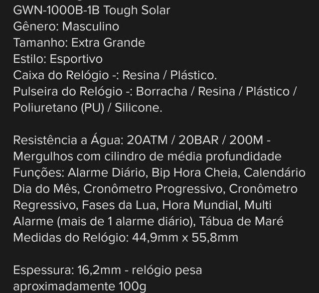 Relógio Casio g shock gwn 1000B! Original - Foto 6