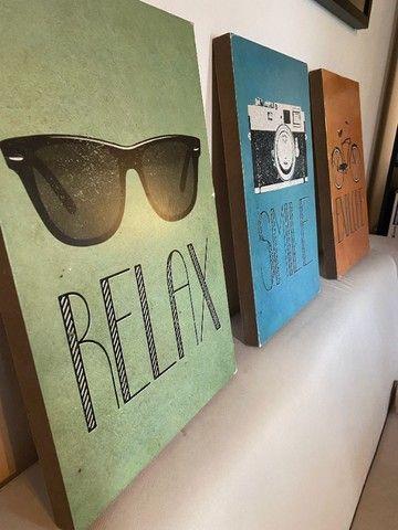 Kit 3 quadros - Relax & Smile & Explore
