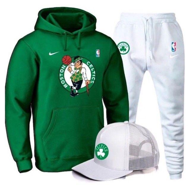 Conjunto moletom Boston Celtics (boné de brinde)