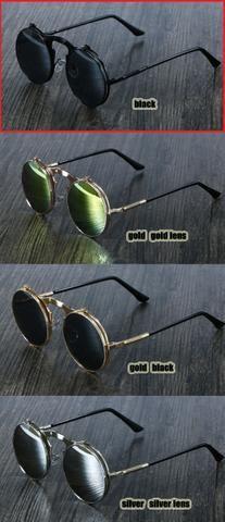 cdd8a7541deb7 Óculos de Sol SteamPunk Preto Black lente dupla redondo UV400 - pronta  entrega