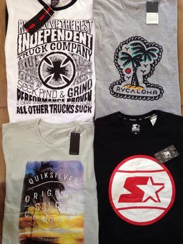 Kit 5 camisetas marcas surf/skate originais entrego