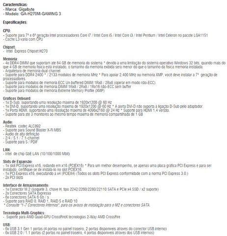 Placa Mãe H270m-Gaming 3 - Foto 4