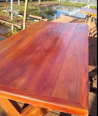 Mesa mais bancos madeira demolição peroba rosa a pronta entrega  - Foto 3