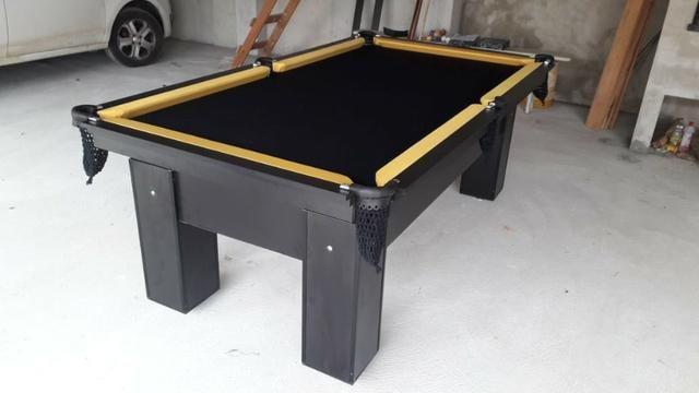 Mesa com 4 Pés Cor Preta Tecido Preto e Borda Amarela Mod. TTHE0267 - Foto 2