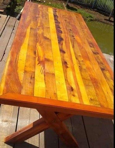 Mesa mais bancos madeira demolição peroba rosa a pronta entrega  - Foto 4