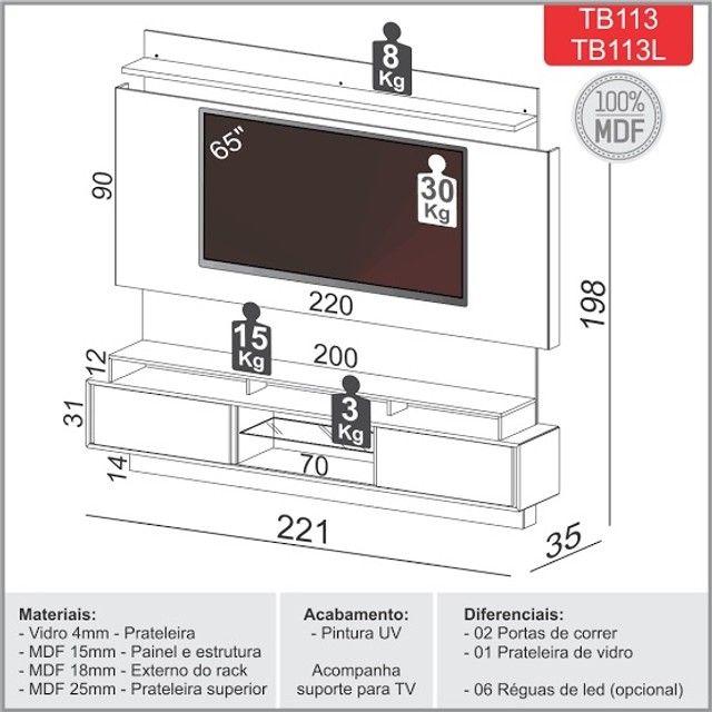 Painel/ Rack para TV - Foto 3