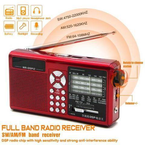 Jinserta Rádio Am Fm Sw Mp3 +bateria Recarregavel