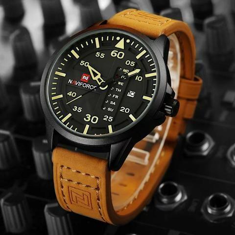 a3b6cf96345 Relógio Masculino Original Naviforce Pulseira De couro Lançamento ...