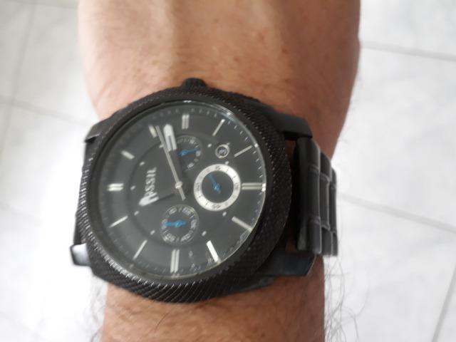 Relógio Fossil original,todo em aço inox cor preta, caixa 45mm,cronógrafo, a42e4dc73f