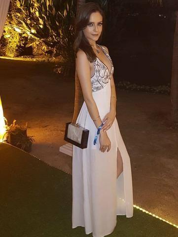 415b41341 Vestido longo bordado a mão novo branco festa casamento noivado praia noite  formatura