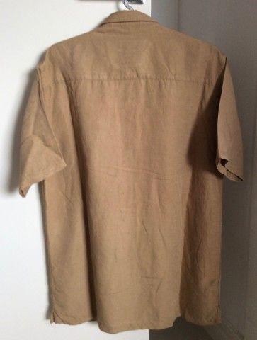 Camisa manga curta linho Azmorr marrom  - Foto 4