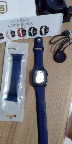 Smartwatch T500+PLUS+pulseira milanese magnética ambus na cor azul PROMOÇÃO - Foto 4