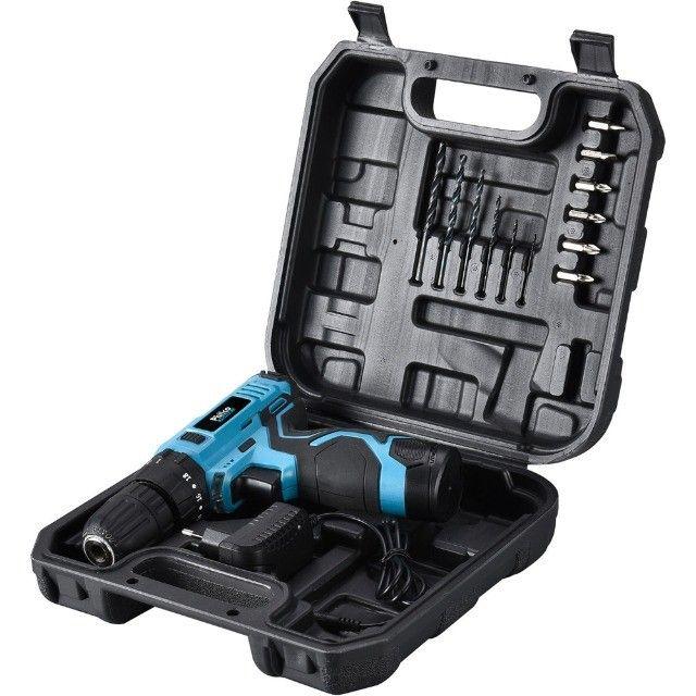 Parafusadeira Furadeira + Impacto Philco 12V Bateria de Lítio e maleta 14 acessórios