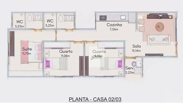 Excelente casa linear com 3 dormitórios à venda, 70 m² por R$ 310.000 - Enseada das Gaivot - Foto 20