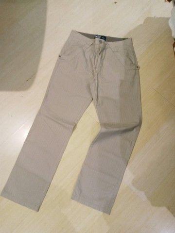 calça beagle brim com risca giz reta tam 42 veste 44 listrada semi nova sem marcas