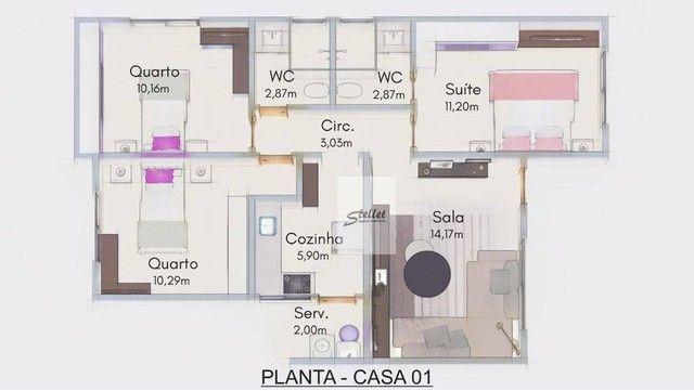 Excelente casa linear com 3 dormitórios à venda, 70 m² por R$ 310.000 - Enseada das Gaivot - Foto 19