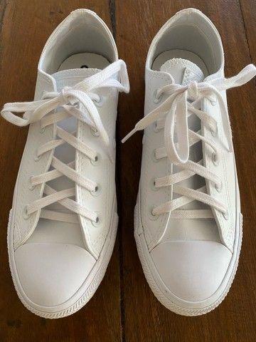 All Star Converse de couro branco  - Foto 3