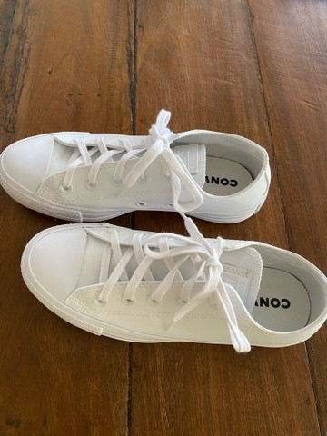All Star Converse de couro branco  - Foto 2